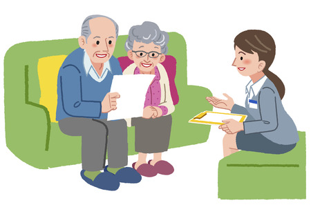 advisement: Smiling elderly couple consults with Geriatric care manager