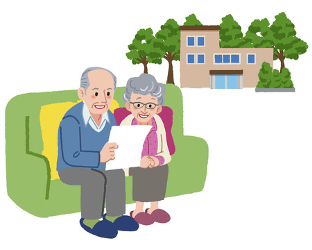 retirement home: smiling senior couple looking at document with retirement home in the background. Illustration