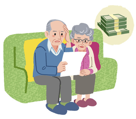 is upset: Aged couple sitting on the sofa and checking bills Illustration