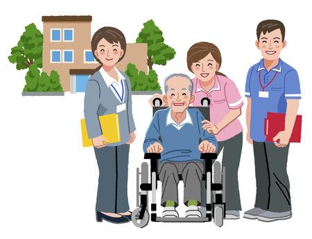 enfermeria: Alegre anciano en silla de ruedas con sus cuidadores de ancianos