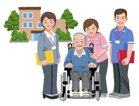 Cheerful elderly person in wheelchair with his nursing caretakers
