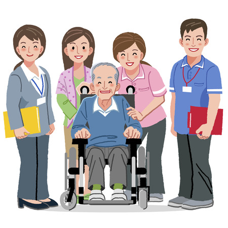 Portraits of smiling aged man in wheelchair and caregivers Stock Illustratie