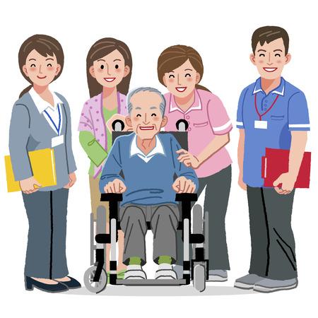 nursing uniforms: Retratos de sonriente hombre de mediana en silla de ruedas y cuidadores
