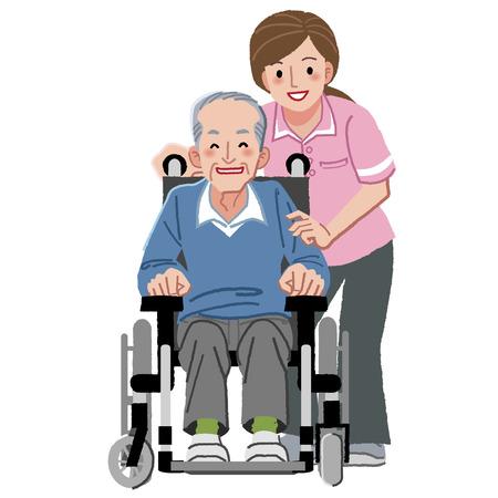 Portretten van lachende oudere man in rolstoel en verzorger
