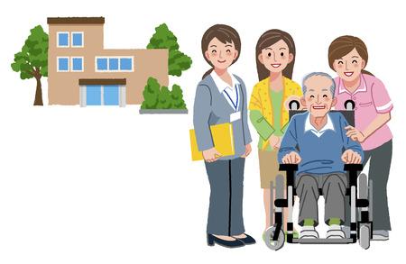 Glimlachend senior man met zorgverleners, zijn dochter, en verpleeghuis op de achtergrond.