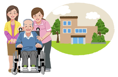 'nursing home': Happy elderly man in wheelchair with his family and nurse, and with nursing home in the background.