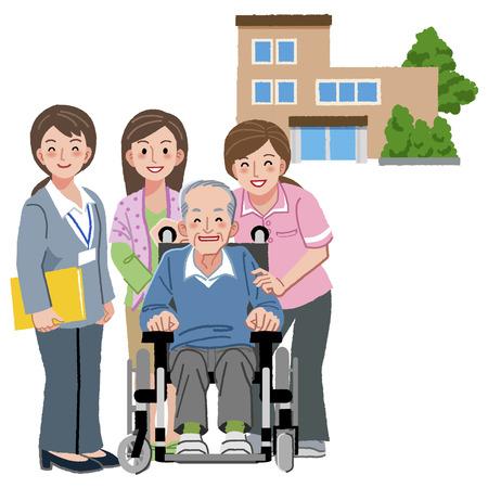 Glimlachend senior man met zorgverleners, zijn familie, en verpleeghuis op de achtergrond.