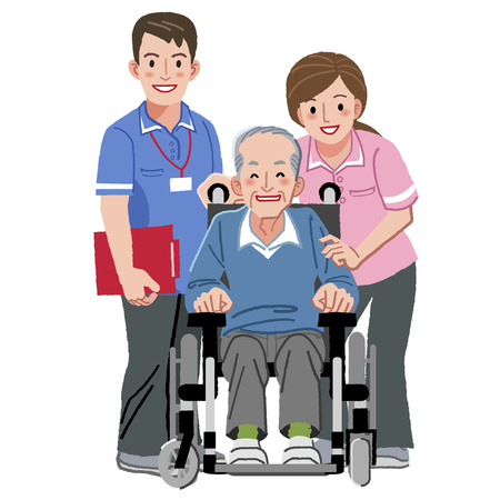 nurse home: Portraits of happy elderly man in wheelchair and his nurses against white background. Illustration