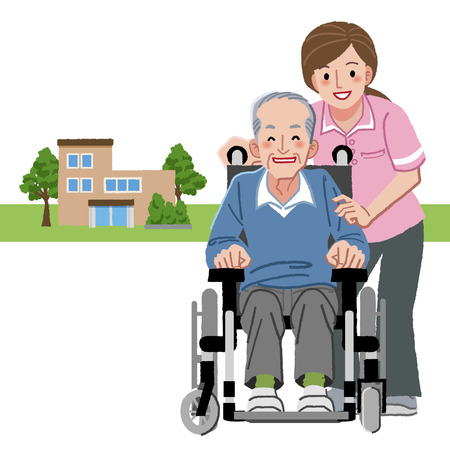 carer: Portraits of smiling senior man in wheelchair and caregiver, with nursing home in distance background.