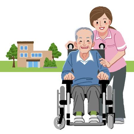 Portretten van lachende senior man in rolstoel en verzorger, met verpleeghuis in afstand achtergrond.