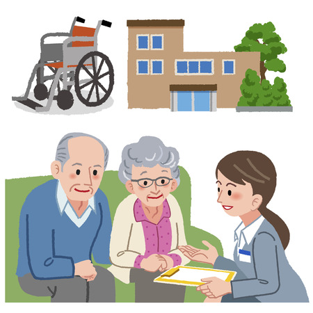 nursing assistant: Elderly couple and Geriatric care manager with nursing home and wheel chair in the background Illustration