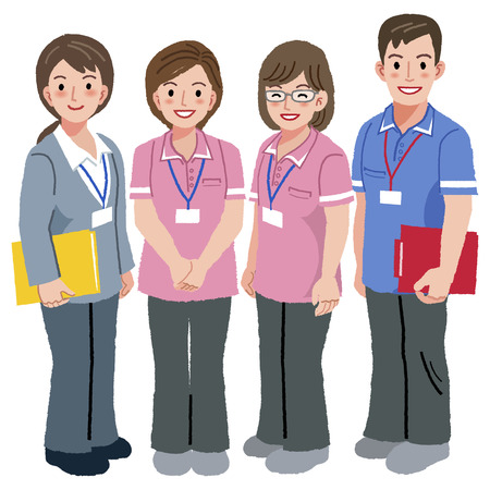 geriatric: Full length portraits of geriatric care manager and three social workers  in white background.