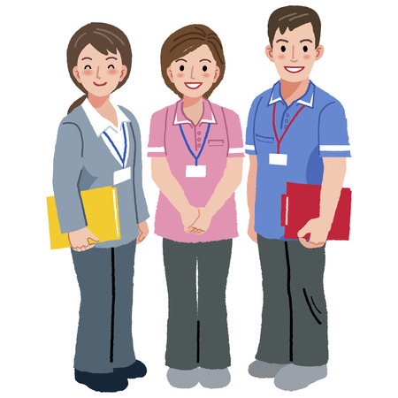 retirement home: Full length portraits of geriatric care manager and two social workers in white background. Illustration