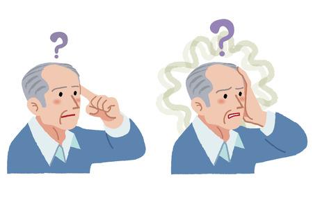 Hombre mayor con el gesto de haber olvidado algo, que sufre de amnesia.