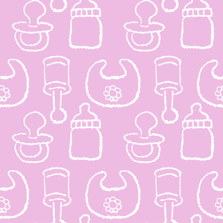 baby girl: Baby girl concept - seamless pattern in pink