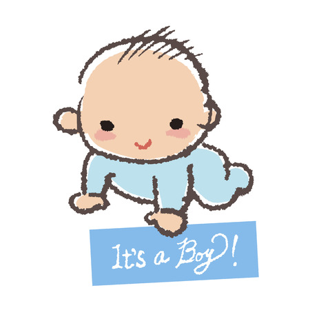 赤ちゃんがカード-それは男の子を保持するいると笑っています。