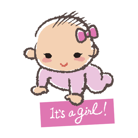 its a girl: Baby smiling with holding a card- its a girl