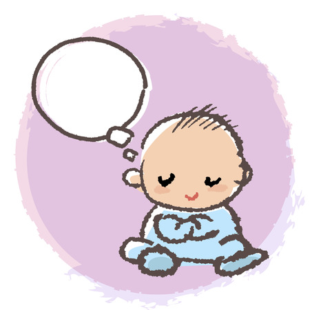 romper: Baby is crossing the arms and thinking with blank  speech bubble. Illustration