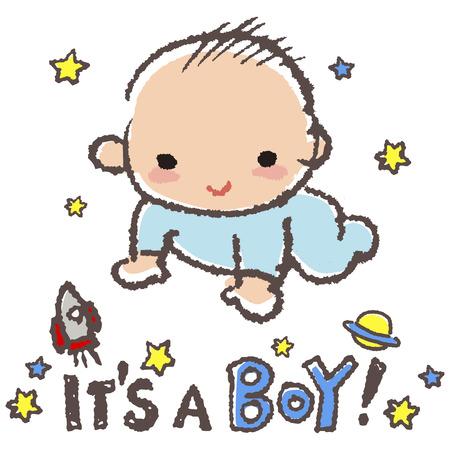 """Bambino ragazzo sorridente con le stelle, rucola e il messaggio """"è un maschio"""" Archivio Fotografico - 39365347"""