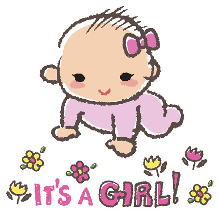 its a girl: Baby girl smiling with flowers and message its a girl Illustration