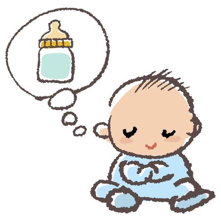 Baby boy thinks milk in speech bubble