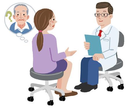 dos personas platicando: Hija de hablar con el m�dico sobre su padre que sufre de demencia.