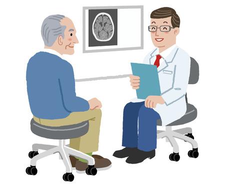 Pacjent i lekarz - Doktor mówi do swojego starszego pacjenta po badaniu TK