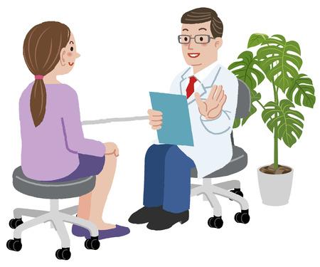 Patiënt en arts - Doctor explaing over examen aan zijn jonge vrouwelijke patiënt op zijn kamer.