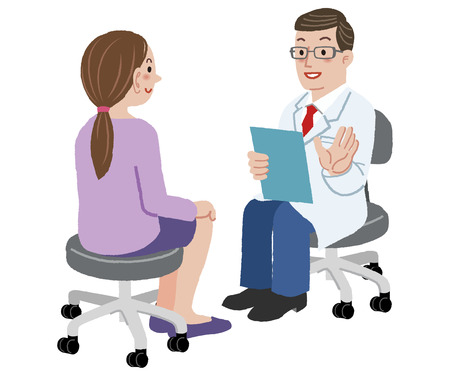 Patient and Doctor - Doctor talking to woman about her health after exam Vector