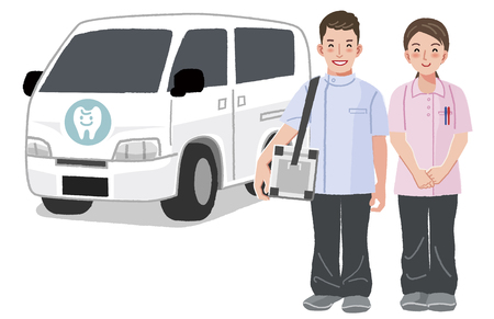 Home Medical Care - Dentist and dental nurse smiling with car in the background