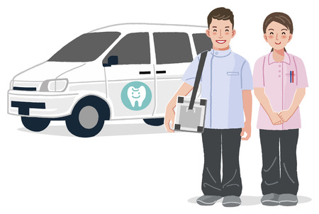 full length: Home Medical Care - Dentist and dental nurse smiling with car in the background