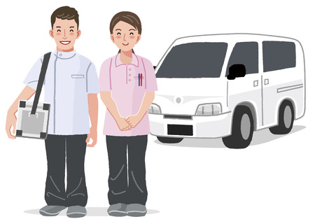 nurse home: Home Medical Care - doctor and nurse smiling with car in the background.