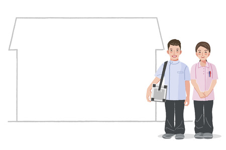 home care nurse: Home Medical Care -doctor and nurse with house silhouette in the background. Illustration