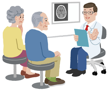 exam: Doctor talking with his patient and the family, after CT scan exam