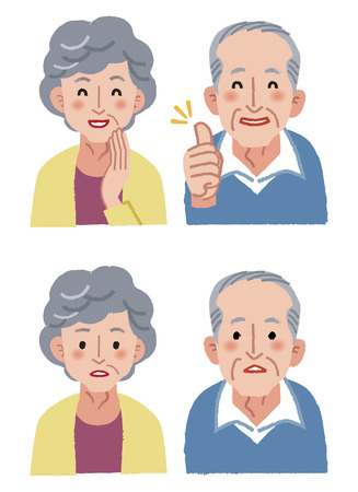 agape: Elderly couple facial expression - smiling and wondering
