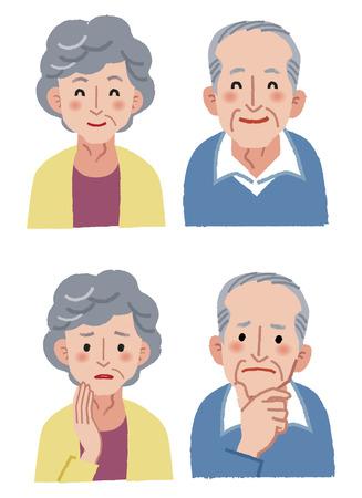 高齢者カップルの表情 - 幸せと不安  イラスト・ベクター素材