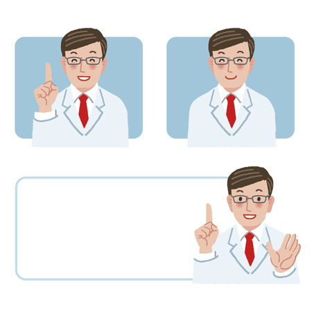 finger pointing up: Doctor smiling and pointing the index finger up. Illustration