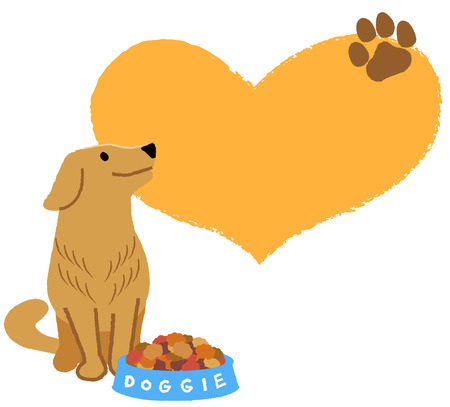looking up: Adorable dog looking up with big heart shape and paw silhouette with dry food in bowl.