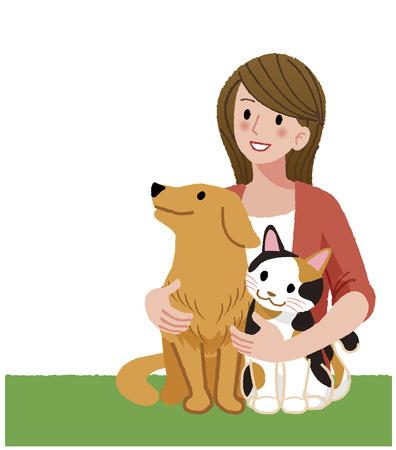 ilustracion: Una mujer con ternura sosteniendo a su perro y un gato, mirando hacia arriba. Vectores