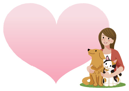 calico: A woman tenderly holding her dog and a cat, looking up with huge heart cartoon shape in the background.