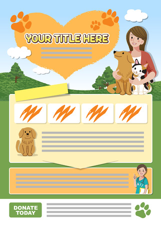 calico: A4 sized Leaflet design template for animal related event or organization. About 3mm Cut off margin contains.