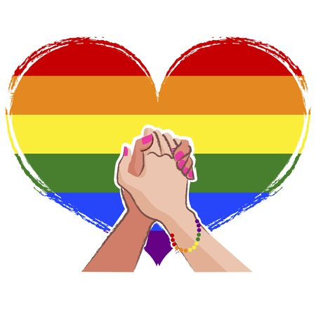 social movement: LGBT concept with Rainbow pride flag in the background.