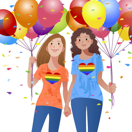 Lesbian couple holding hand each other and balloons with confetti in the background in the celebration mood.Releasing the Clipping mask on the ballon, the whole balloons will be appeared.
