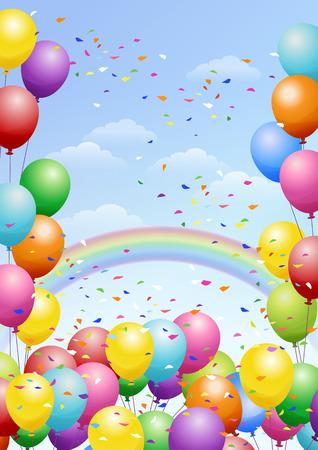 다채로운 풍선, 무지개와 흩어져있는 색종이 축제 배경. 축하. 일러스트