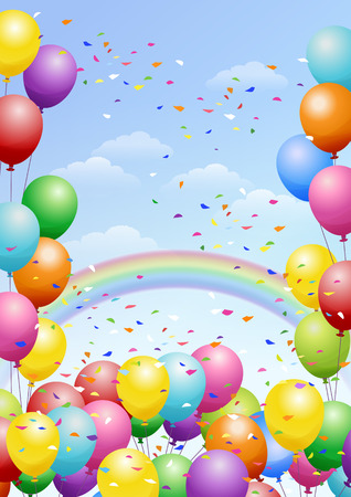 celebration background: Festival background with colorful balloons, rainbows and scattered confetti. Celebration.