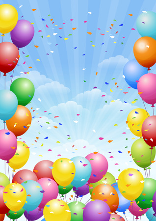 Festival background with colorful balloons and scattered confetti. Celebration. Vectores