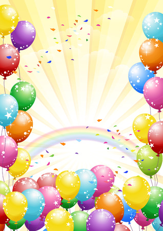Festival background with colorful balloons and scattered confetti. Celebration. 일러스트