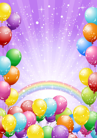 balloon bouquet: Festival background with colorful balloons and shining glitter. Celebration.