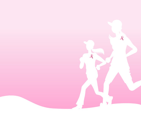 breast cancer awareness ribbon: Pink ribbon concept image, running woman silhouette.