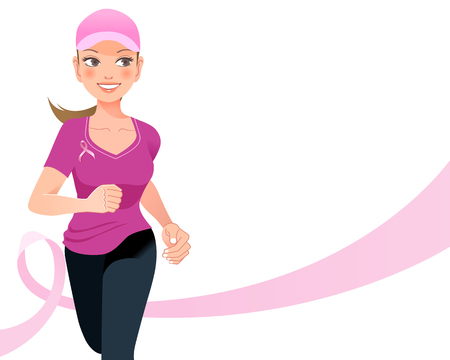 breast: Pink ribbon concept - running woman with pink ribbon in the background Illustration